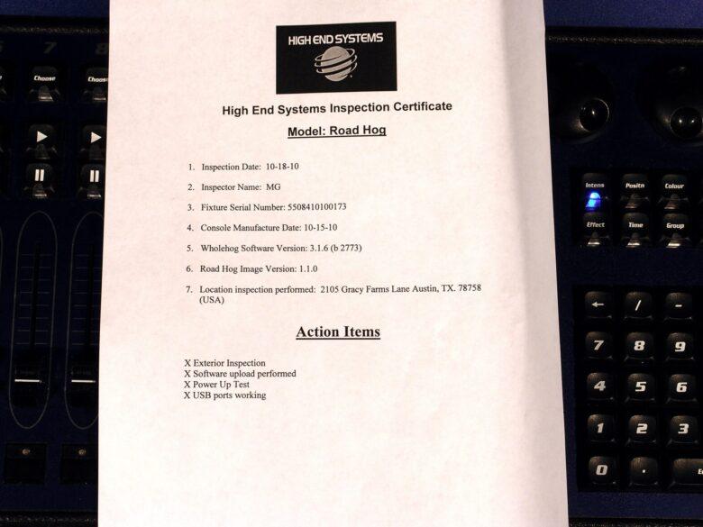 Road hog 3 inspection certificate