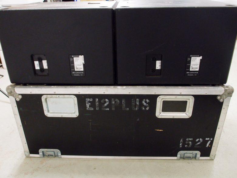 Pair of d&b E12X-SUB in flight case
