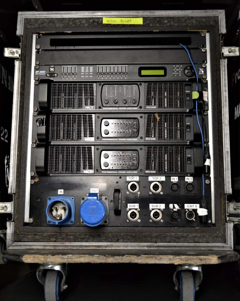 NEXT MQ10000, 2x MD14000 amplifiers with Xilica XP-4080 DSP